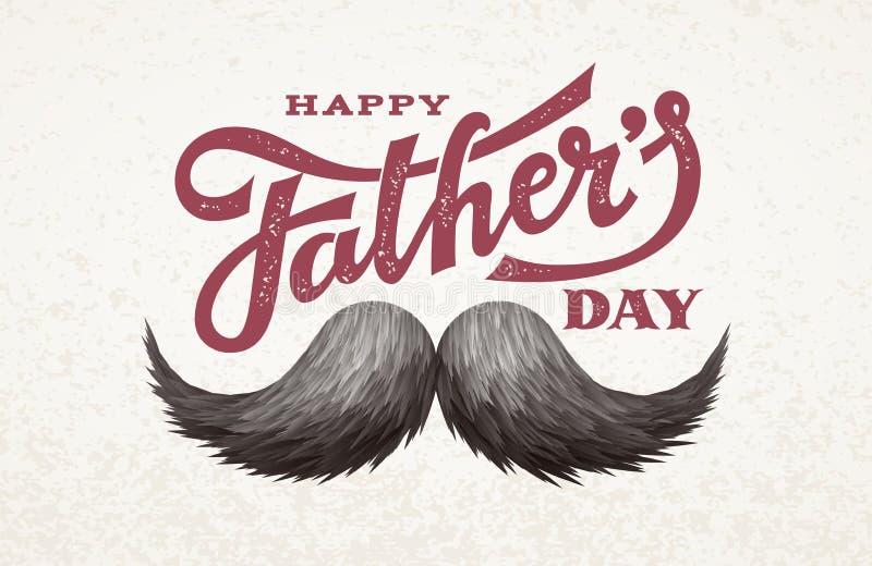 Giorno di padri felice Iscrizione disegnata a mano con i baffi royalty illustrazione gratis