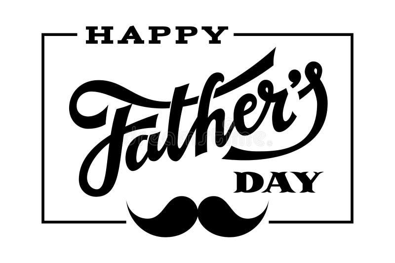 Giorno di padri felice Iscrizione disegnata a mano con i baffi illustrazione di stock
