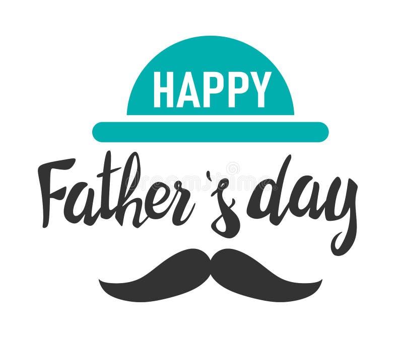 Giorno di padri felice iscrizione Modello per la cartolina d'auguri, insegna, aletta di filatoio, invito, congratulazione, proget illustrazione vettoriale