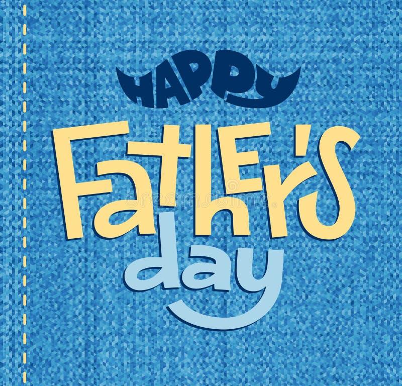 Giorno di padri felice Iscrizione di vettore sul fondo blu illustrazione di stock