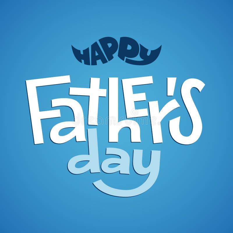 Giorno di padri felice Iscrizione di vettore sul fondo delle blue jeans illustrazione vettoriale