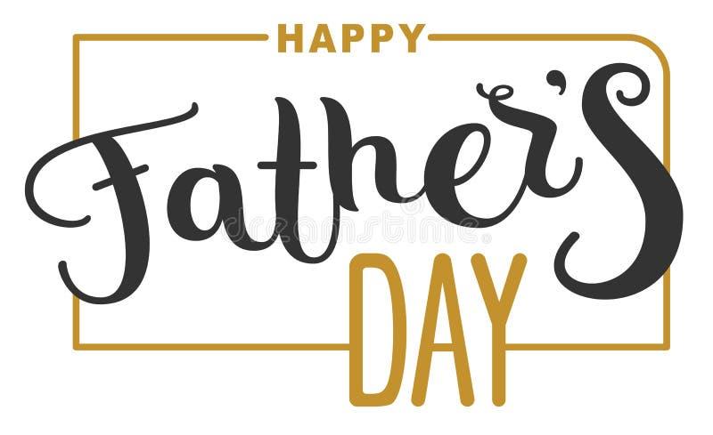 Giorno di padri felice Testo dell'iscrizione per la cartolina d'auguri del modello illustrazione di stock