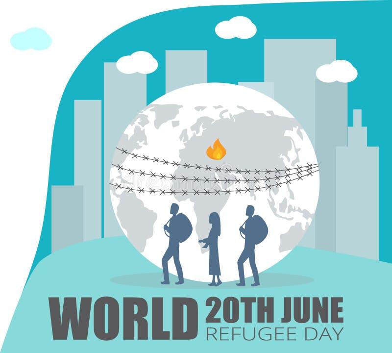 Giorno di rifugiato di mondo illustrazione di stock