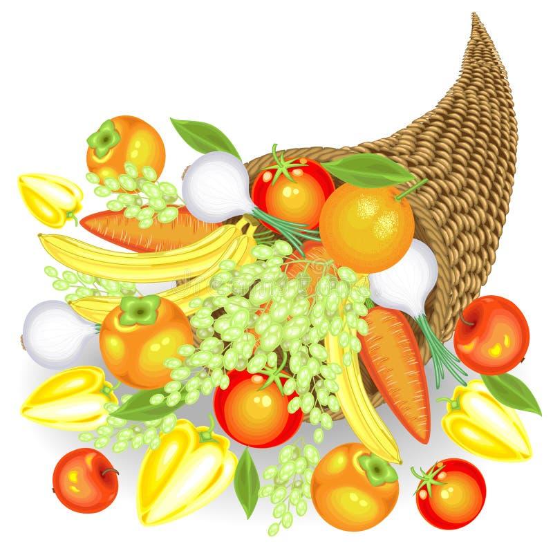 Giorno di ringraziamento Un raccolto generoso della frutta e delle verdure fresche Nella cornucopia, mele, banane, uva, cachi, royalty illustrazione gratis