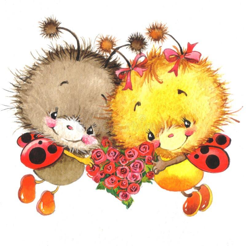 Giorno di S. Valentino e coccinella sveglia, cuore rosso illustrazione di stock