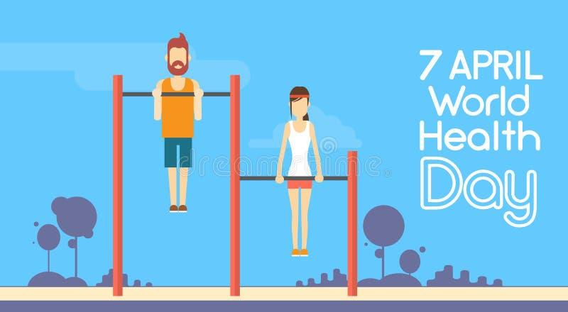 Giorno di salute di mondo di Chin Up Bar Exercise Workout della donna dell'uomo di forma fisica di sport 7 April Holiday illustrazione di stock