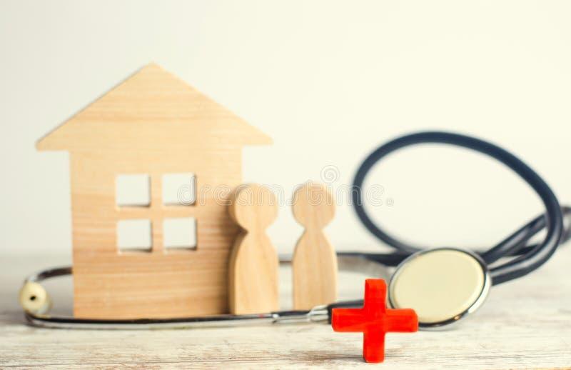 Giorno di salute di mondo, il concetto della medicina di famiglia ed assicurazione stetoscopio e la gente immagini stock
