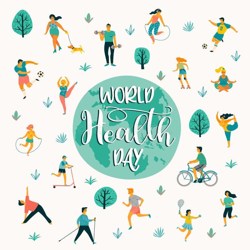Giorno di salute di mondo Illustrazione di vettore della gente che conduce uno stile di vita sano attivo illustrazione di stock