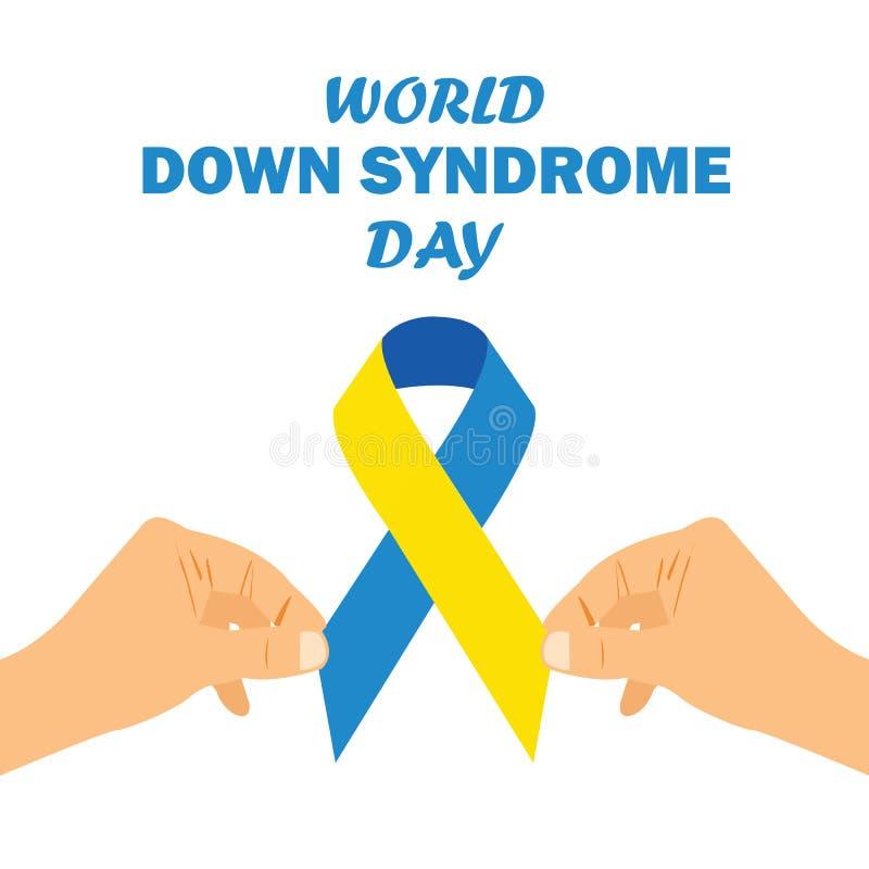 Giorno di sindrome di Down del mondo con l'illustrazione gialla blu di vettore dell'arco del nastro di consapevolezza di colore fotografia stock libera da diritti
