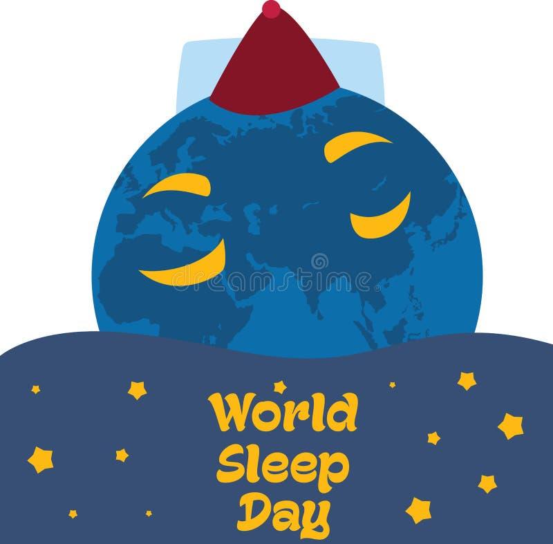 Giorno di sonno del mondo, marzo illustrazione di stock