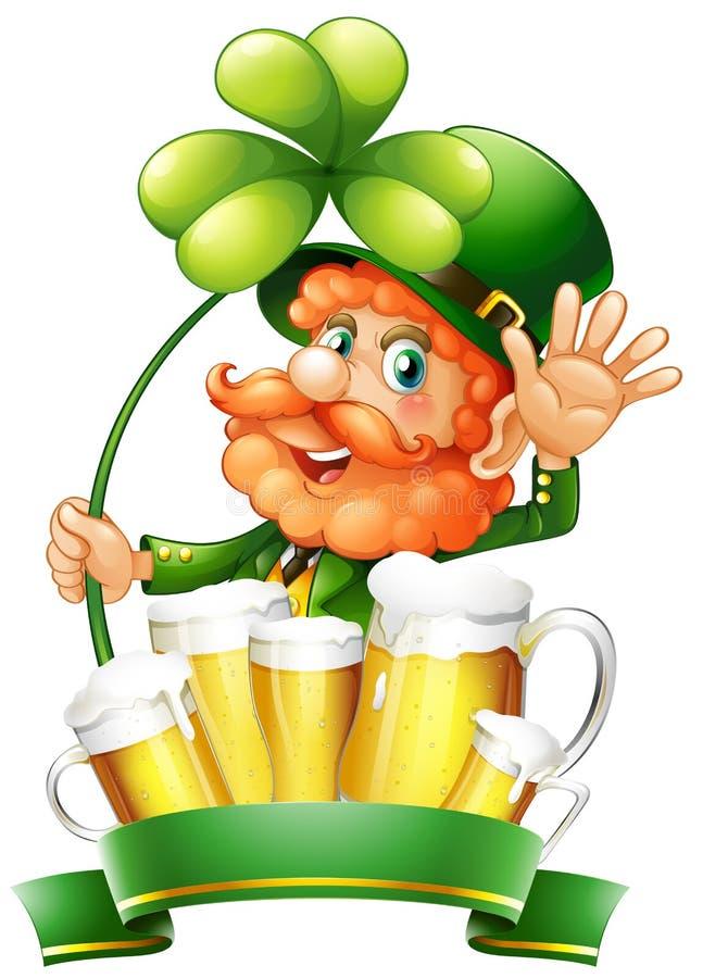 Giorno di St Patrick con il leprechaun e la birra fresca illustrazione vettoriale