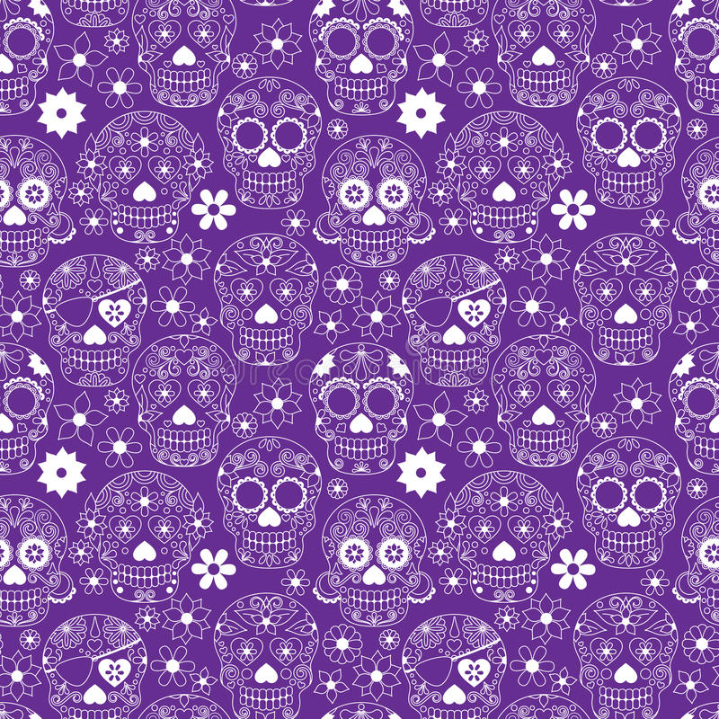 Giorno di Sugar Skull Seamless Vector Background morto royalty illustrazione gratis