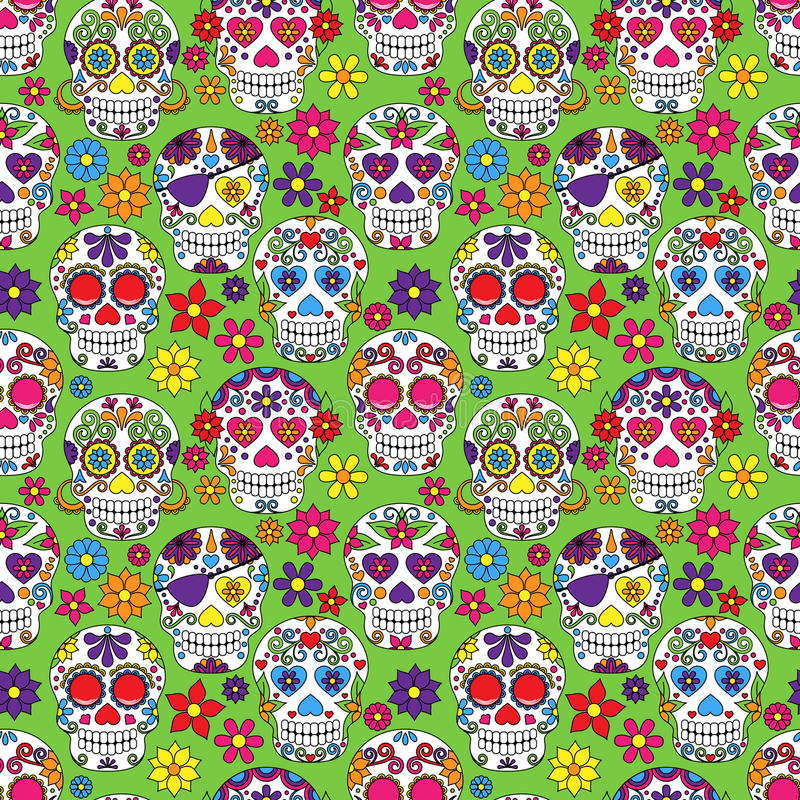 Giorno di Sugar Skull Seamless Vector Background morto illustrazione vettoriale