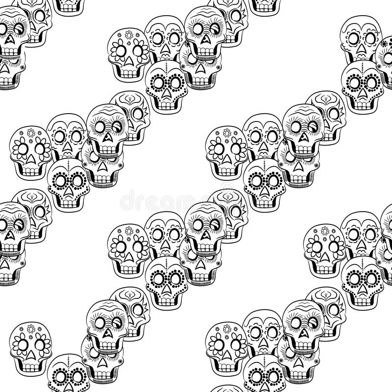 Giorno di Sugar Skull Seamless Vector Background morto illustrazione di stock