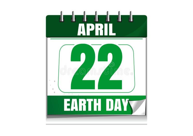 Giorno di terra Calendario murale 22 aprile illustrazione vettoriale