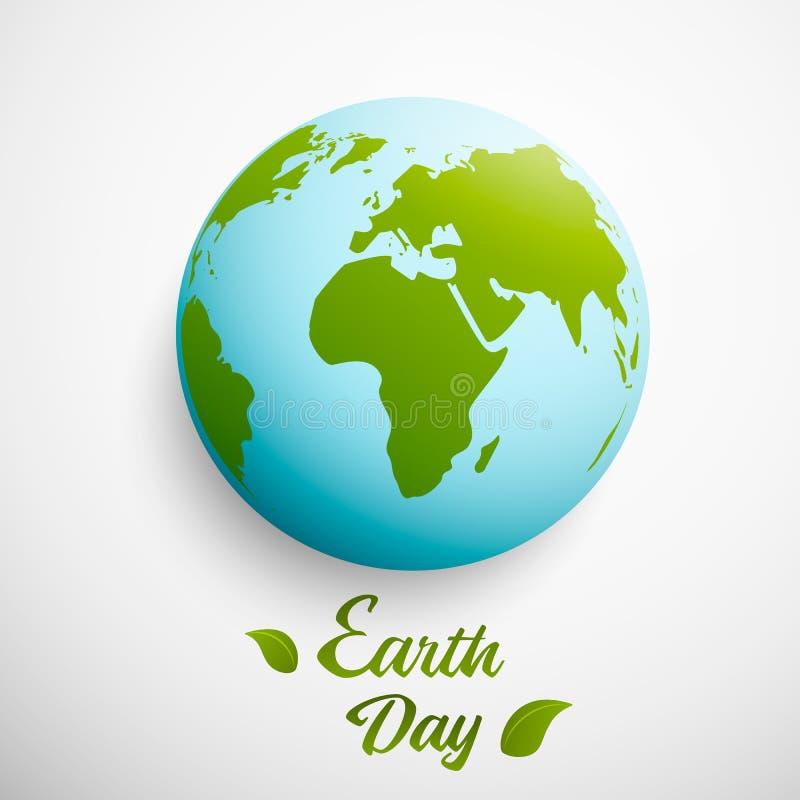 Giorno di terra Illustrazione di vettore con il pianeta e le foglie verdi Illustrazione di vettore illustrazione vettoriale