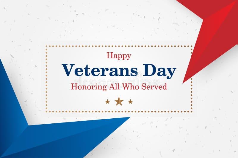 Giorno di veterani Cartolina d'auguri con l'iscrizione della fonte su un fondo stellato Evento americano nazionale di festa Illus illustrazione vettoriale