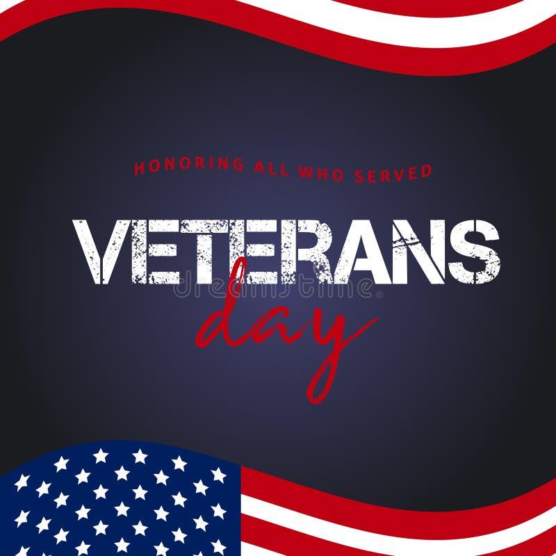 Giorno di veterani Onorando tutti che serviscano 11 novembre backg di festa fotografie stock libere da diritti