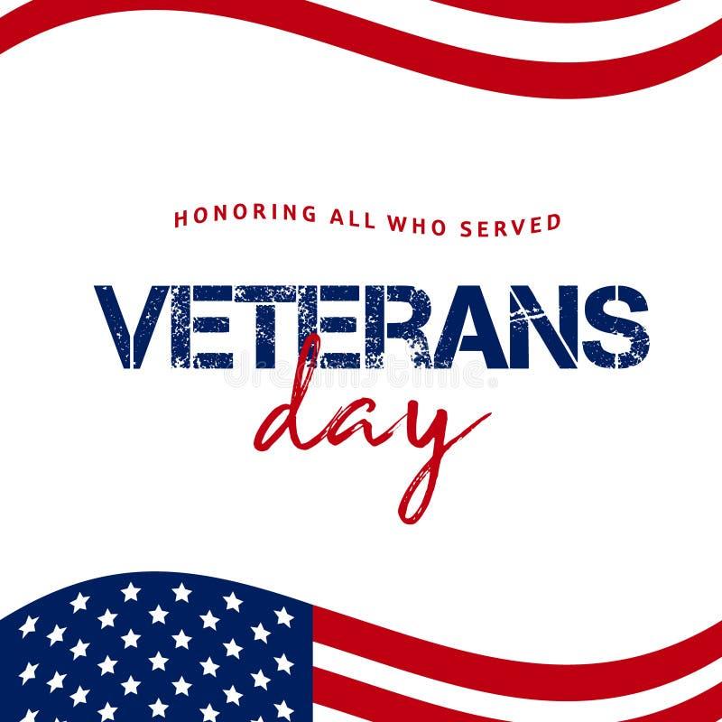 Giorno di veterani Onorando tutti che serviscano 11 novembre backg di festa immagini stock libere da diritti