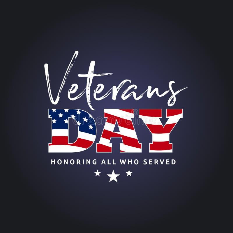 Giorno di veterani Onorando tutti che serviscano 11 novembre backg di festa immagine stock libera da diritti