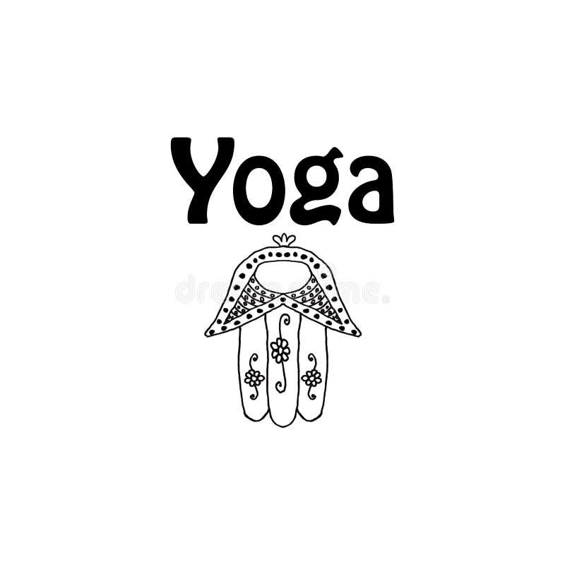 Giorno di yoga del mondo Hamsa doodle Tiraggio della mano Illustrazione di vettore su fondo isolato illustrazione vettoriale