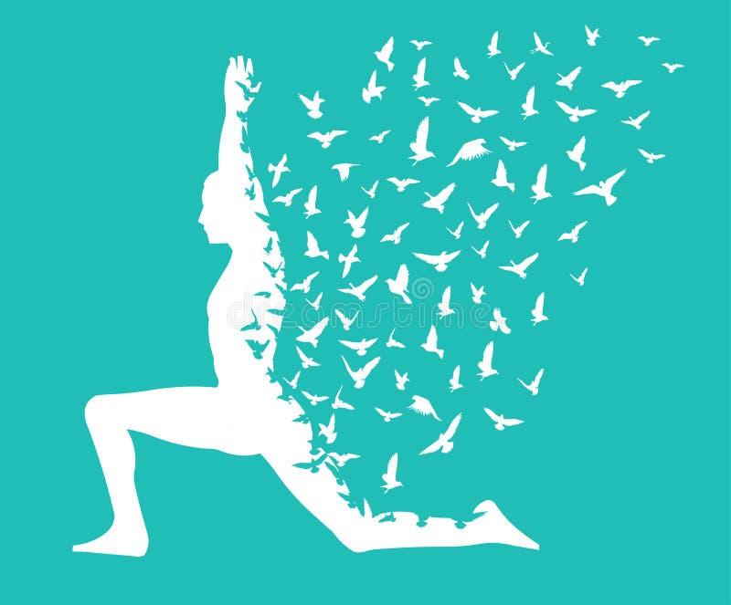 Giorno di yoga/yoga infographic con gli uccelli che pilotano progettazione, i modelli per il centro della stazione termale o lo s royalty illustrazione gratis