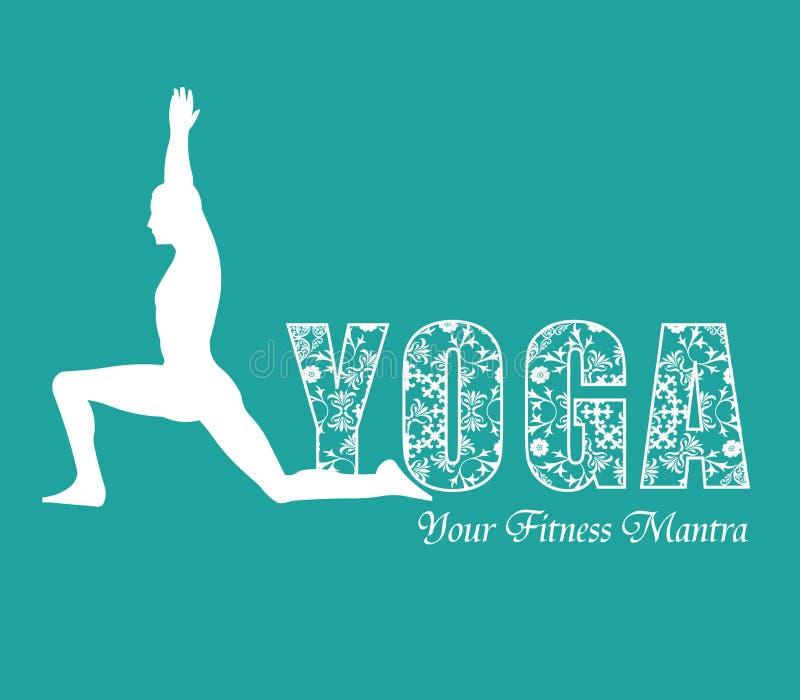 Giorno di yoga/yoga infographic con progettazione floreale, i modelli per il centro della stazione termale o lo studio di yoga illustrazione di stock