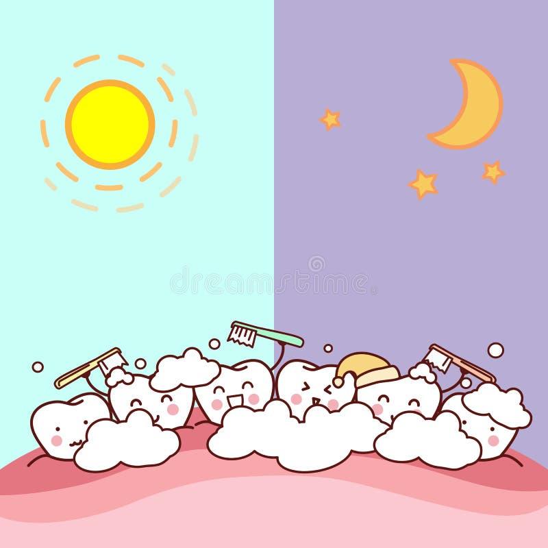 Giorno e notte dello spazzolino da denti illustrazione vettoriale