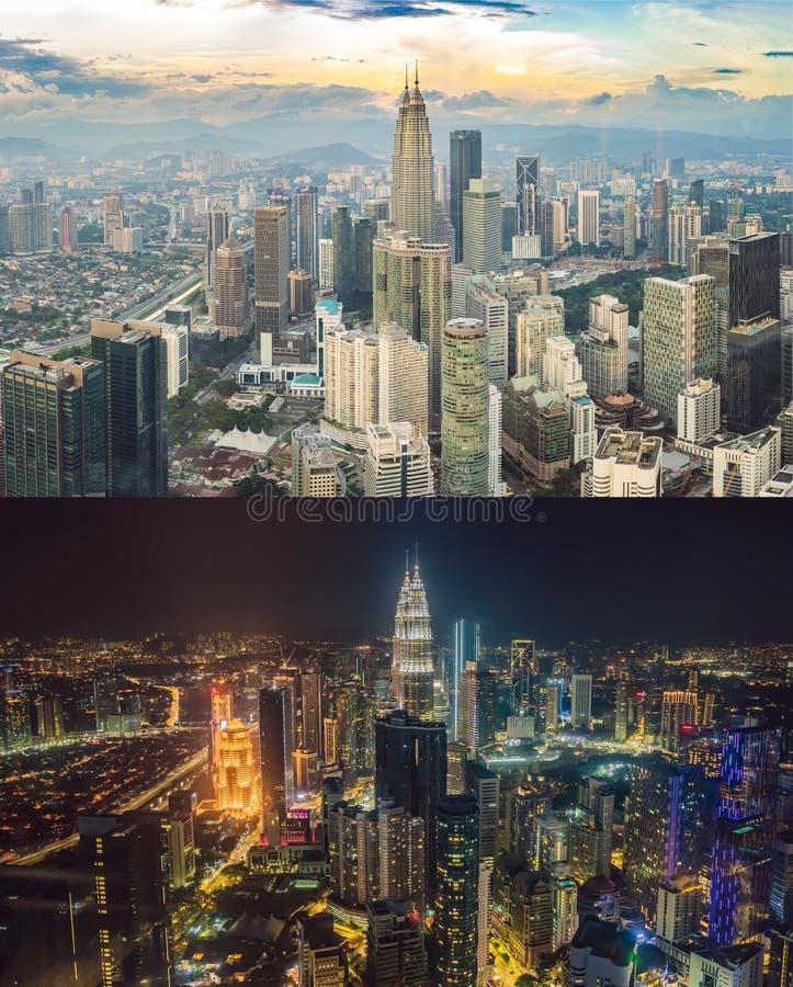 Giorno e notte Orizzonte di Kuala Lumpur, vista della città, grattacieli con un bello cielo Paesaggio urbano di Kuala Lumpur immagine stock libera da diritti