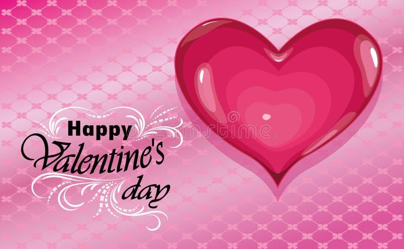Giorno felice dei biglietti di S Amore Cuore su fondo rosa Vettore royalty illustrazione gratis