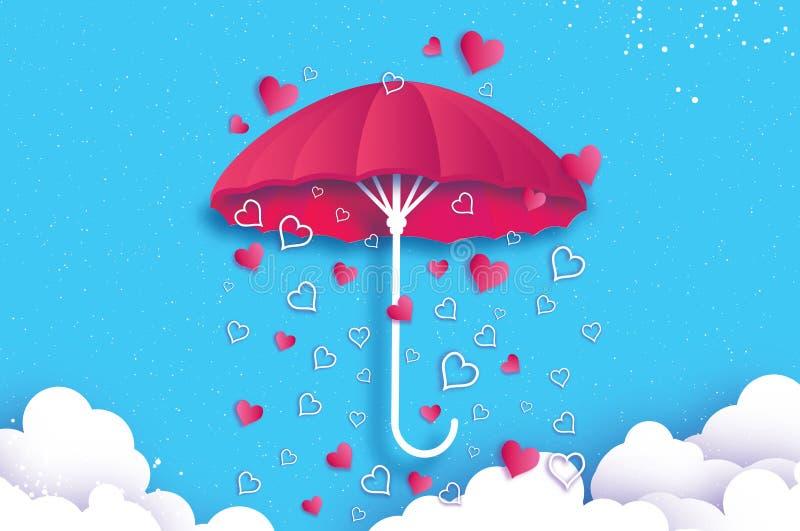 Giorno felice dei biglietti di S Ombrello rosa Aria con la pioggia di amore Goccia di pioggia del cuore di origami parasole Stagi illustrazione di stock