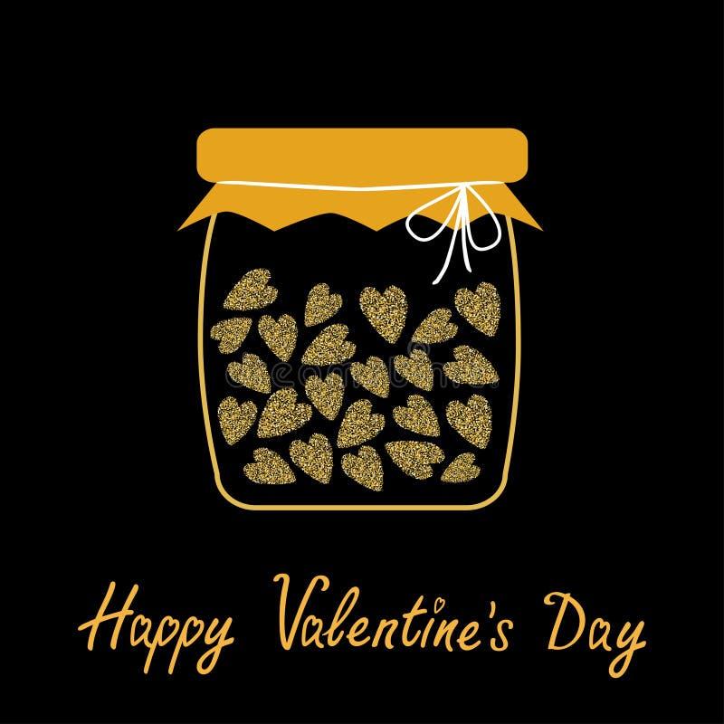 Giorno felice dei biglietti di S Scheda di amore Barattolo della bottiglia con i cuori dentro Fondo del nero di struttura di scin illustrazione di stock