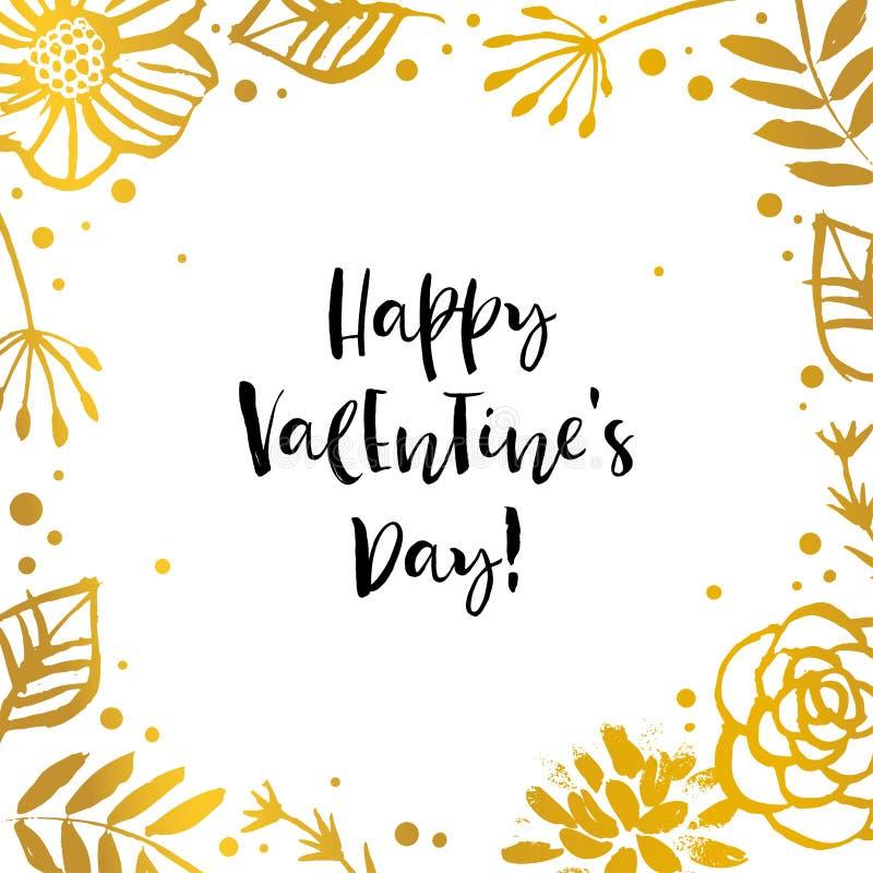 Giorno felice dei biglietti di S Struttura del fiore dell'oro Scheda di festa Tiraggio della mano illustrazione vettoriale