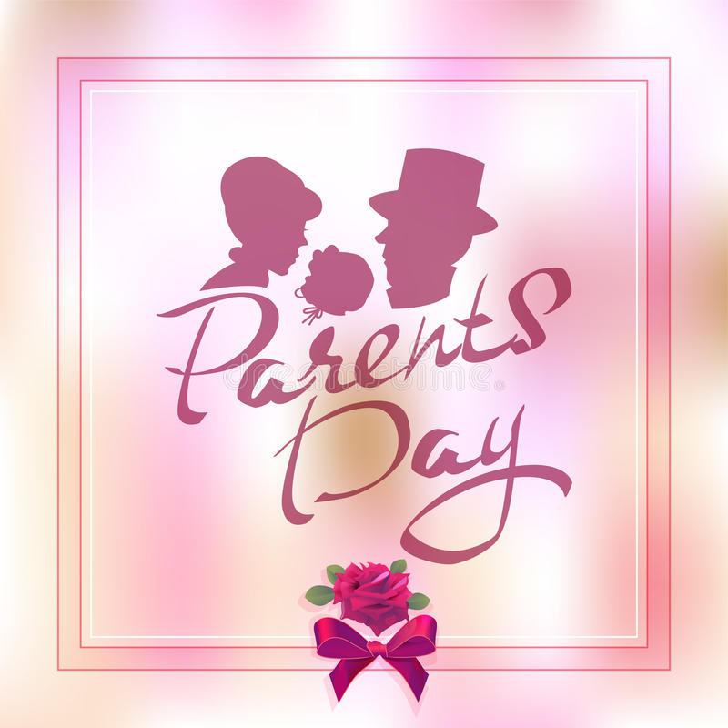 Giorno felice dei genitori Siluetta della famiglia con il bambino Testo dell'iscrizione per la cartolina d'auguri illustrazione vettoriale
