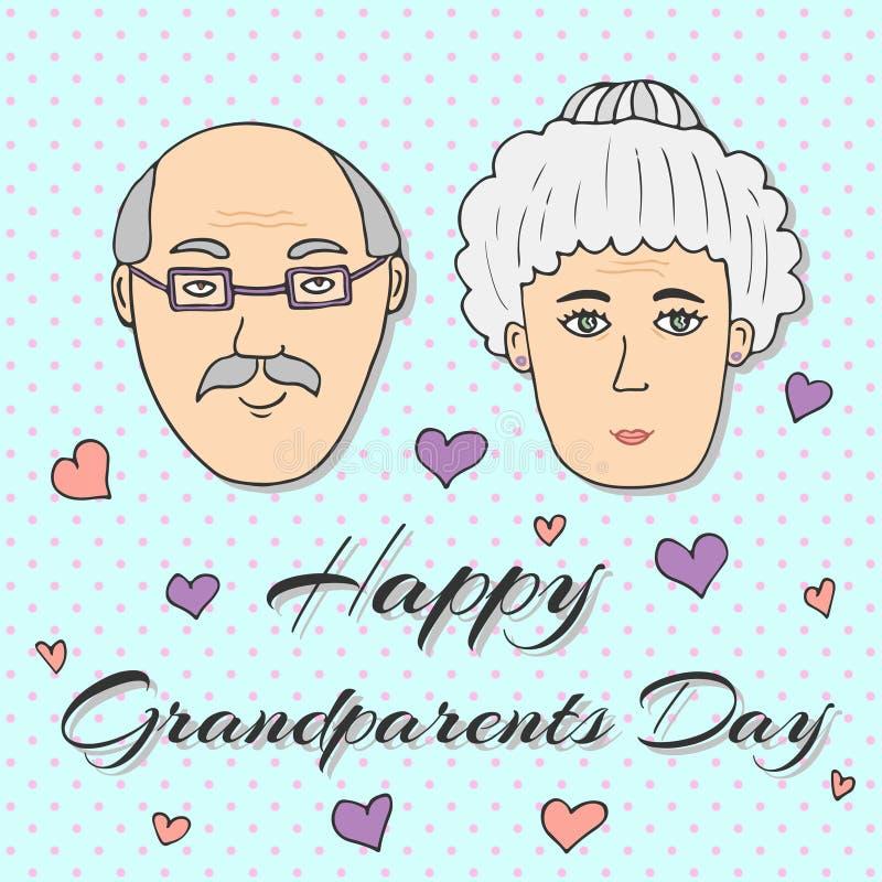 Giorno felice dei nonni! Cartolina d'auguri Vettore illustrazione di stock