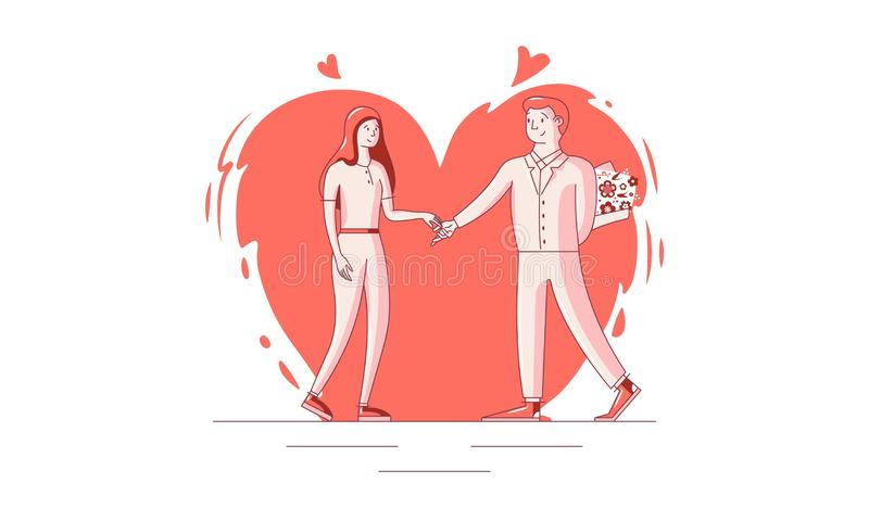 Giorno felice del biglietto di S. Valentino s - 14 febbraio - illustrazione di vettore illustrazione vettoriale