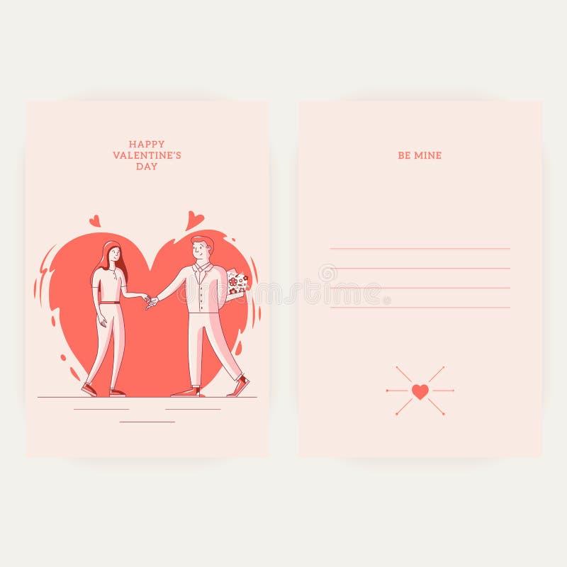 Giorno felice del biglietto di S. Valentino s - 14 febbraio - tempalte della cartolina d'auguri illustrazione vettoriale