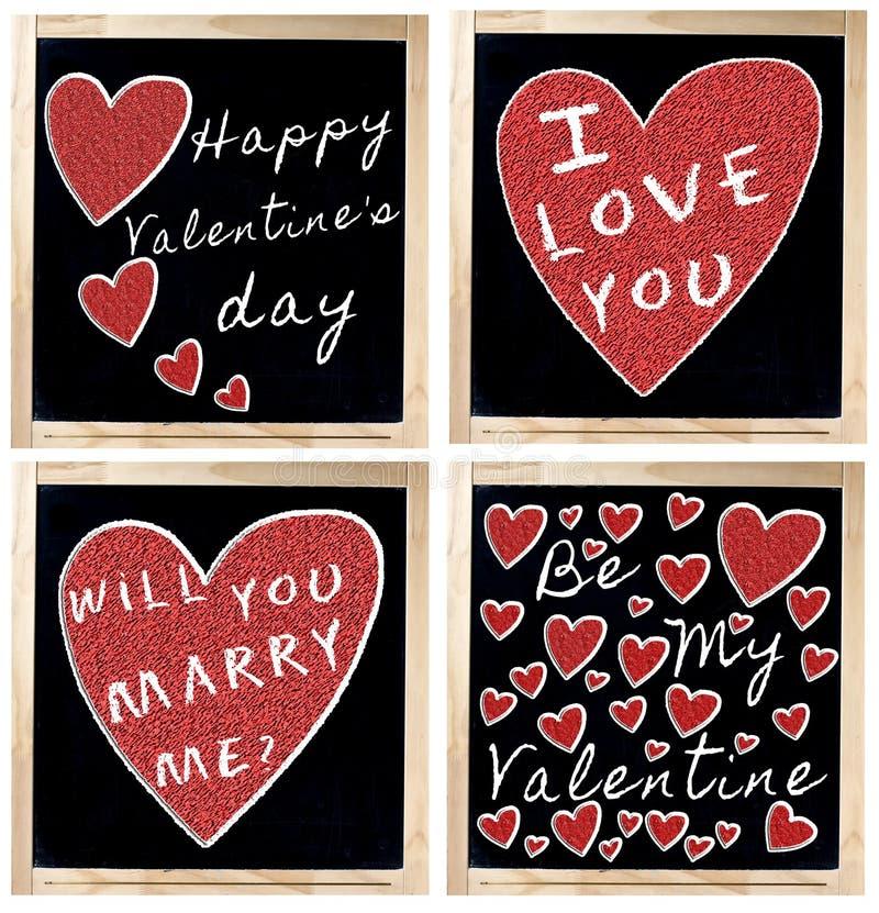 Giorno felice del biglietto di S. Valentino s sulla lavagna immagine stock libera da diritti