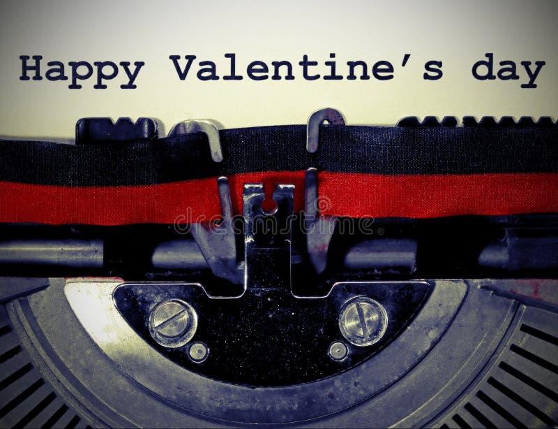 Giorno felice del biglietto di S. Valentino s del testo con vecchio effetto tonificato fotografia stock libera da diritti