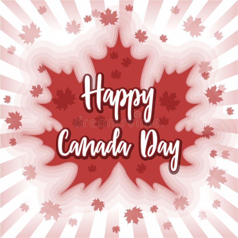 Giorno felice del Canada - cartolina, manifesto o insegna illustrazione vettoriale