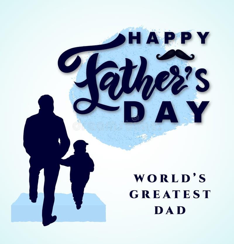 Giorno felice del padre s Siluetta del figlio del bambino e del papà Vettore illustrazione vettoriale
