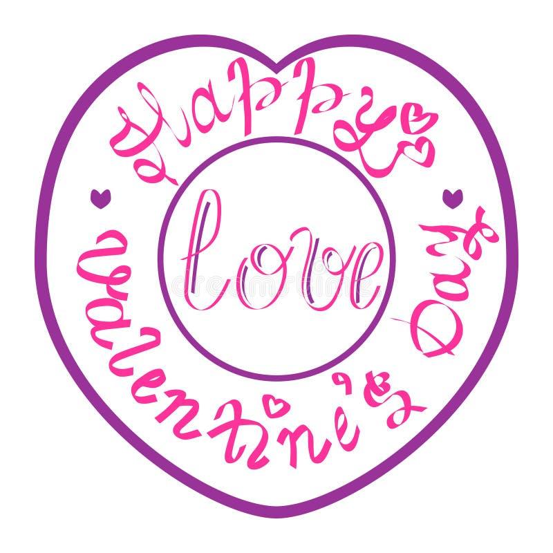 Giorno felice del ` s del biglietto di S. Valentino del bollo immagini stock