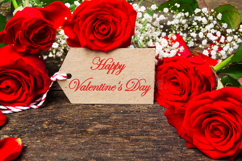 Giorno felice del ` s del biglietto di S. Valentino della cartolina d'auguri immagini stock