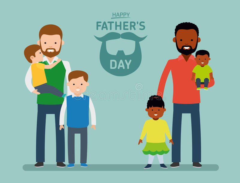 Giorno felice del ` s del padre Due il padre felice con i bambini, singolo europeo del papà, l'altro papà è afroamericano iscrizi illustrazione di stock