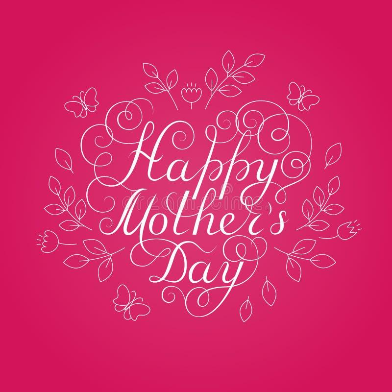 Giorno felice del `s della madre Calligrafia bianca dell'inchiostro su fondo rosa Figura del cuore Usato per la cartolina d'augur royalty illustrazione gratis