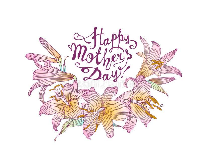 Giorno felice del ` s della madre! Carta di vettore con i fiori del giglio royalty illustrazione gratis