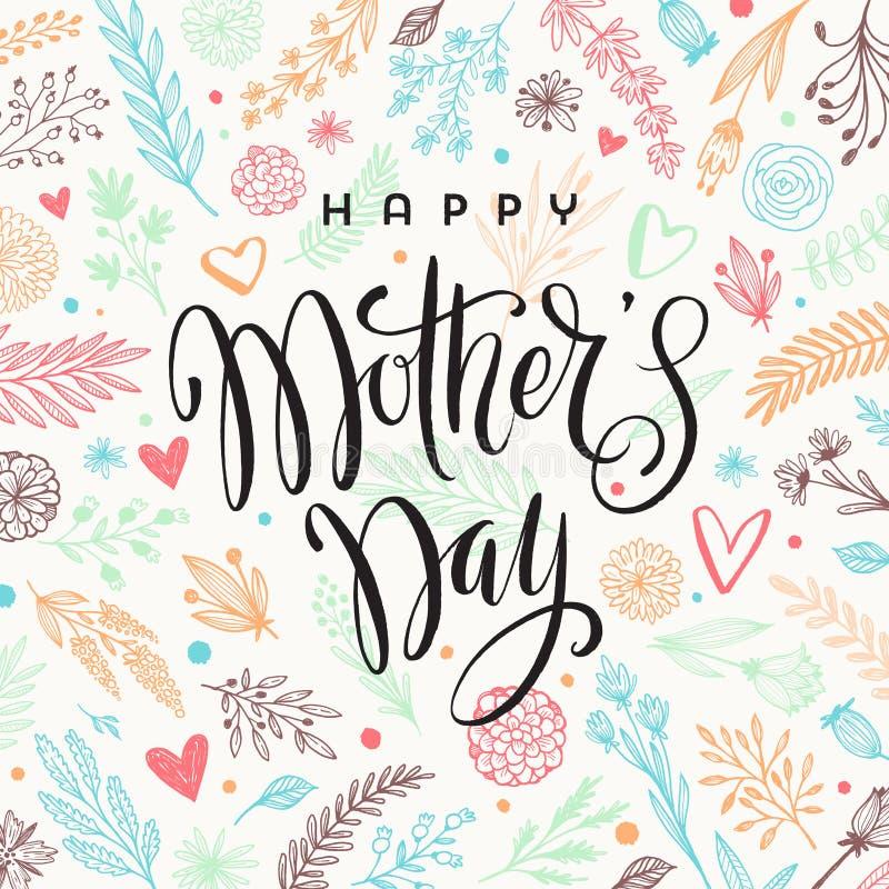 Giorno felice del ` s della madre - cartolina d'auguri Calligrafia della spazzola sul fondo disegnato a mano floreale del modello illustrazione di stock