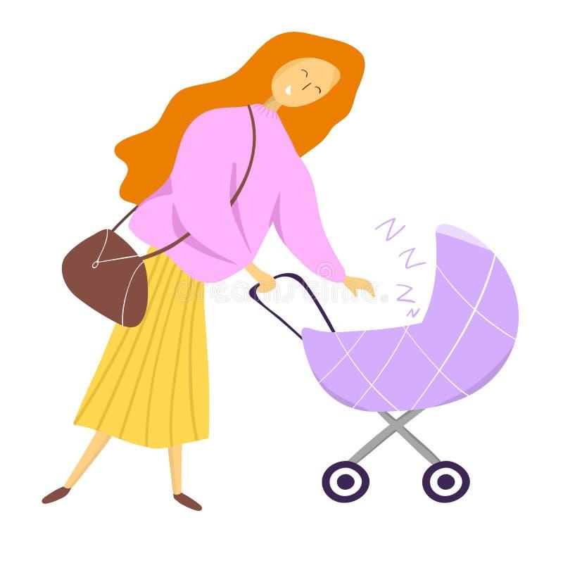 Giorno felice del `s della madre Concetto felice di maternità Mamma con una carrozzina illustrazione vettoriale