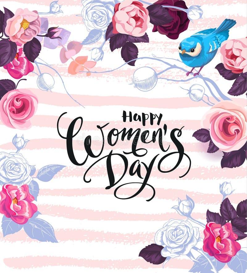 Giorno felice del ` s delle donne Frase scritta a mano circondata dei dai fiori colorati di mezza, dalle foglie e dal piccolo ucc royalty illustrazione gratis
