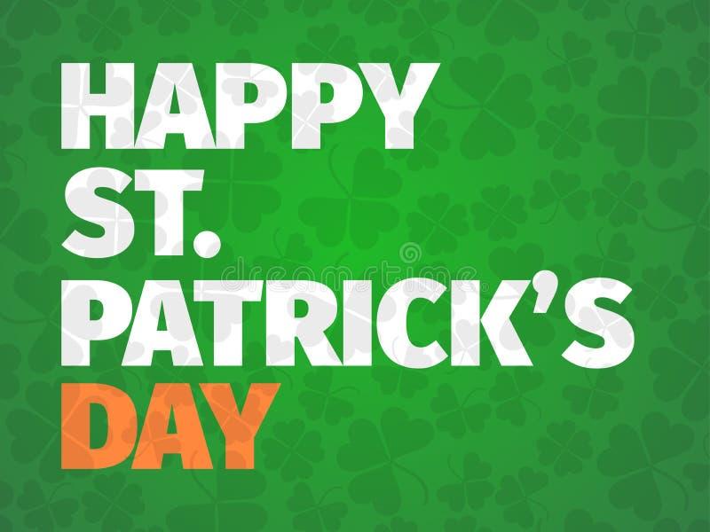 Giorno felice del ` s di Patrick Cartolina d'auguri con le foglie del trifoglio Manifesto tipografico con testo in grassetto e la illustrazione vettoriale